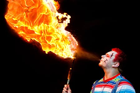 corporate event acts with fire breathing circus fire ...